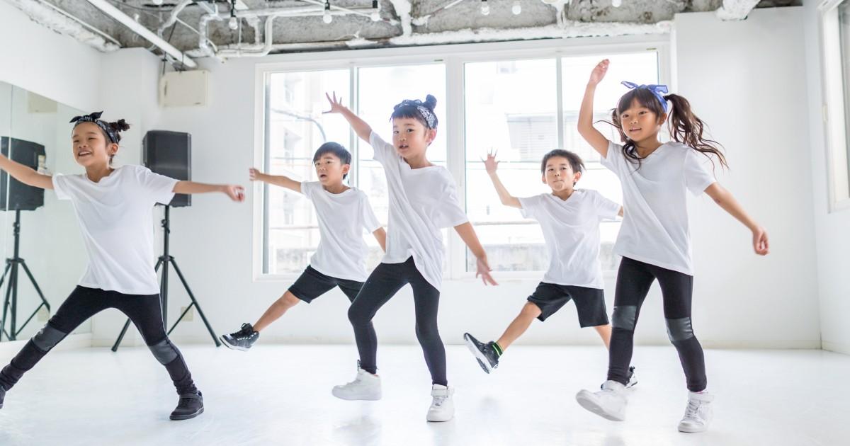 Dance fitness workout. Kids hip hop dancer.